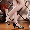 billige Antrekk til ballroom-dans-Dame Moderne sko / Ballett Semsket lær Høye hæler Kustomisert hæl Kan spesialtilpasses Dansesko Svart og Sølv / Sort og Gull / Sølv / Lær