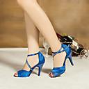 זול נעליים לטיניות-בגדי ריקוד נשים נעליים לטיניות / ריקודים סלוניים סטן סנדלים קריסטל עקב מותאם מותאם אישית נעלי ריקוד כחול / סגול / עור / עור