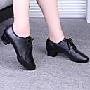 abordables Zapatos de Baile Latino-Mujer Zapatos de Baile Moderno / Salón Semicuero Tacones Alto Con Cordón / Poroso Tacón Bajo Zapatos de baile Negro / Rojo
