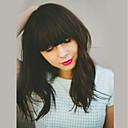 olcso Sapka nélküli-Emberi hajszelet nélküli parókák Emberi haj Hullámos Réteges frizura / Bretonnal Közepes Géppel készített Paróka Női