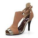 ieftine Sandale de Damă-Pentru femei Pantofi Piele nubuc Primăvară / Vară Confortabili / Noutăți Sandale Toc Stilat Vârf ascuțit Ținte / Cataramă Negru / Galben