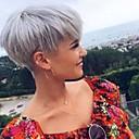 olcso Sapka nélküli-Emberi hajszelet nélküli parókák Emberi haj Egyenes Pixie frizura Természetes hajszálvonal Rövid Géppel készített Paróka Női