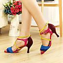 baratos Sapatos de Dança Latina-Mulheres Sapatos de Dança Latina / Dança de Salão Courino Salto Presilha Salto Personalizado Personalizável Sapatos de Dança Fúcsia