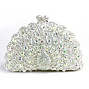 cheap Clutches & Evening Bags-Women's Bags Metal Evening Bag Crystals White