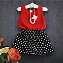 cheap Holiday Props-Girls' Polka Dot Clothing Set, Cotton Polyester Summer Sleeveless Simple Red