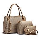 baratos Conjunto de Bolsas-Mulheres Bolsas PU Conjuntos de saco 3 Pcs Purse Set Miçangas / Estampa Geométrica Dourado / Branco / Preto