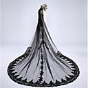 זול נעליי בית-שכבה אחת אפליקצית קצה תחרה ירח דבש חתונה הינומות חתונה צעיפי קפלה צעיפי קתדרלה עם תחרה תחרה טול