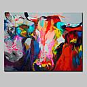 tanie Męskie obuwie sportowe-Hang-Malowane obraz olejny Ręcznie malowane - Zwierzęta Zwierzęta Nowoczesny Brezentowy