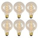 halpa Hehkulamppu-GMY® 6kpl 40 W E26 / E27 G95 Lämmin valkoinen 2200 k Retro / Himmennettävissä / Koristeltu Himmennetty Vintage Edison-hehkulamppu 220-240 V