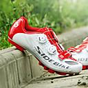 billige Syntetiske parykker uden hætte-SIDEBIKE Voksne Cykelsko m. pedal og tåjern / Mountain bike sko Kulstoffiber Dæmpning Cykling Rød og Hvid Herre