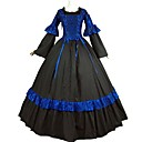 cheap Party Headpieces-Renaissance Victorian Costume Women's Adults' Dress Masquerade Outfits Black/Blue Vintage Cosplay Pure Cotton Long Sleeves Bell Ankle