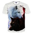זול סטים של ביגוד לבנים-חיה צווארון עגול רזה בסיסי מועדונים טישרט - בגדי ריקוד גברים דפוס זאב / שרוולים קצרים