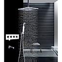זול ברזים למקלחת-עכשווי רכוב תיקרה מקלחת גשם שפורפרת יד כלולה שסתום קרמי ארבע ידיות ארבעה חורים כרום, ברז למקלחת