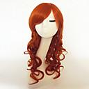 halpa Anime-peruukit-Synteettiset peruukit Kihara / Syvät aallot Epäsymmetrinen leikkaus / Otsatukalla Synteettiset hiukset Luonnollinen hiusviiva Punainen Peruukki Naisten Pitkä Suojuksettomat