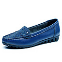 cheap Women's Slip-Ons & Loafers-Women's Leather / Cowhide Spring / Fall Comfort Loafers & Slip-Ons Flat Heel Black / Blue