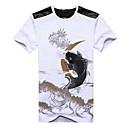 voordelige Herensneakers-Heren Chinoiserie Print T-shirt Katoen Ronde hals