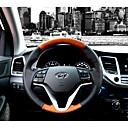 billige Skifteknapper-Ratovertræk til din bil ægte læder 38 cm Sort / Sort / Brun For Hyundai New Tucson 2015 / 2016 / 2017
