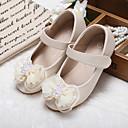 זול נעלי ילדות-בנות נעליים דמוי עור אביב קיץ נעליים לילדת הפרחים נוחות שטוחות הליכה חרוזים אפליקציות סקוטש ל חתונה מסיבה וערב שחור בז' ורוד