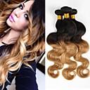 povoljno Ekstenzije od ljudske kose-3 paketa 4 paketića Brazilska kosa Tijelo Wave Virgin kosa Ombre 10-20 inch Ombre Isprepliće ljudske kose 8a Proširenja ljudske kose / 10A