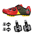 cheap Cycling Shoes-SIDEBIKE Adults' Cycling Shoes With Pedals & Cleats / Mountain Bike Shoes Carbon Fiber Anti-Slip, Wearable Cycling Black / Red / Green / Black Men's