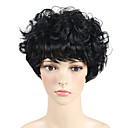 cheap Synthetic Capless Wigs-Synthetic Wig Curly / Wavy Pixie Cut / With Bangs Synthetic Hair African American Wig Black Wig Capless