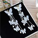 זול עגילים צמודים-בגדי ריקוד נשים קריסטל עגילי קליפס - פרח, פפיון אלגנטית לבן עבור חתונה חגים