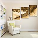 זול שעוני קיר מוטבעים בציורי קנבס-סגנון מודרני כפרי עץ ריבוע בבית,סוללה