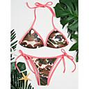 tanie Sandały damskie-Damskie Trójkątny Halter Bikini - Nadruk, Kamuflaż Dół typu Cheeky / Bezprzewodowy