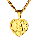 cheap Men's Necklaces-Men's Pendant Necklace - Stainless Steel Heart Vintage Gold, Silver Necklace Jewelry One-piece Suit For Daily, Ceremony