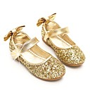 cheap Girls' Shoes-Girls' Shoes Paillette Spring / Fall Ballerina / Flower Girl Shoes Flats Bowknot / Sequin / Magic Tape for Gold / Silver