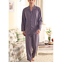 voordelige Schijnwerpers-Heren Grote maten Overhemdkraag Kostuum Pyjama - Bloemen / 2 stuks / Hoge taille