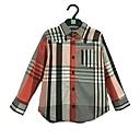 billige Motearmbånd-Baby Gutt Enkel Stripet Langermet Normal Bomull Skjorte Regnbue