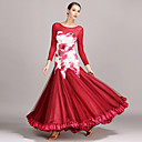 tanie Stroje balowe-Taniec balowy Sukienki Damskie Spektakl Tiul / Jedwab Marszcząca się Długi rękaw Natutalne Sukienka