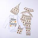 זול סטים של ביגוד לבנים-סט של בגדים כותנה שרוול ארוך גיאומטרי / דפוס / אותיות גופים נפרדים / Rompers יוניסקס פעוטות