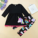 cheap Girls' Clothing Sets-Girls' Daily Rainbow / Animal Tassel / Fairytale Theme / Animal Pattern Long Sleeve Long Regular Cotton Clothing Set Black / Cute