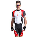cheap Cycling Jersey & Shorts / Pants Sets-Nuckily Men's Short Sleeve Triathlon Tri Suit - Red Geometic Bike Anatomic Design, Ultraviolet Resistant, Breathable Polyester / Spandex