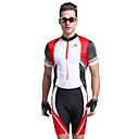 זול בגדים לטריאתלון-Nuckily בגדי ריקוד גברים שרוולים קצרים חליפת טריאתלון - אדום גאומטרי אופניים עיצוב אנטומי, עמיד אולטרה סגול, נושם פוליאסטר / ספנדקס