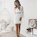 cheap Cake Toppers-Women's Off Shoulder Going out / Club Sophisticated Flare Sleeve Mini Sheath Dress - Solid Colored White, Lace One Shoulder Summer White M L XL / Sexy / Skinny