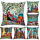 cheap Pillow Covers-6 pcs Cotton / Linen Pillow Cover, Botanical / Bohemian Style / Retro