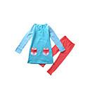 זול חולצות לבנות-סט של בגדים כותנה אביב כל העונות שרוול ארוך יומי מנוקד פסים הדפס חיות בנות חמוד סרט מצוייר פול