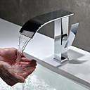 hesapli LED Duş Başlıkları-Çağdaş Tek Gövdeli Şelale Seramik Vana Tek Kolu Bir Delik Krom, Banyo Lavabo Bataryası
