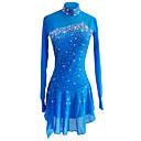 זול שמלות להחלקה על הקרח-שמלה להחלקה אמנותית בגדי ריקוד נשים / בנות החלקה על הקרח שמלות כחול סקיי ספנדקס, חוט נמתח סטרצ'י (נמתח) ביגוד להחלקה על הקרח נצנצית שרוול