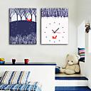 זול שעוני קיר מוטבעים בציורי קנבס-סגנון מודרני כפרי מהגוני ריבוע בבית,סוללה