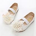 זול נעלי ילדות-בנות נעליים PU אביב חדשני / נעליים לילדת הפרחים שטוחות ניטים / סרט גומי ל לבן / ורוד / מסיבה וערב