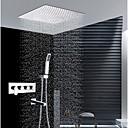 זול ברזים למקלחת-עכשווי התקנת קיר מקלחת גשם שפורפרת יד כלולה שסתום קרמי ארבע ידיות ארבעה חורים כרום, ברז למקלחת
