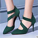 cheap Women's Heels-Women's Shoes Nappa Leather / PU(Polyurethane) Spring Comfort Heels Stiletto Heel Pointed Toe / Closed Toe Mid-Calf Boots Black / Green