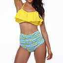 cheap Women's Slippers & Flip-Flops-Women's Ruffle Halter Neck Yellow Bandeau High Waist Bikini Swimwear - Fruit Ruffle / Print M L XL