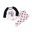 זול אוברולים טריים לתינוקות-סט של בגדים כותנה שרוול ארוך דפוס יום יומי / סגנון רחוב בנות תִינוֹק