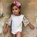 זול אוברולים טריים לתינוקות-חליפת גוף כותנה / פשתן / סיבי במבוק חצי שרוול אחיד פשוט בנות תִינוֹק