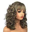 billige Syntetiske parykker uten hette-Syntetiske parykker Krøllet Syntetisk hår Brun Parykk Dame Lang Lokkløs Blond